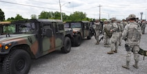 Members of the 914th Security Forces Squadron prepare to load vechicles at Buffalo Niagara International Airport on June 11, 2014. Personnel were partcipating in a simulated convoy back to Niagara Falls Air Reserve Station. (U.S. Air Force photo by Master Sgt. Kevin Nichols)