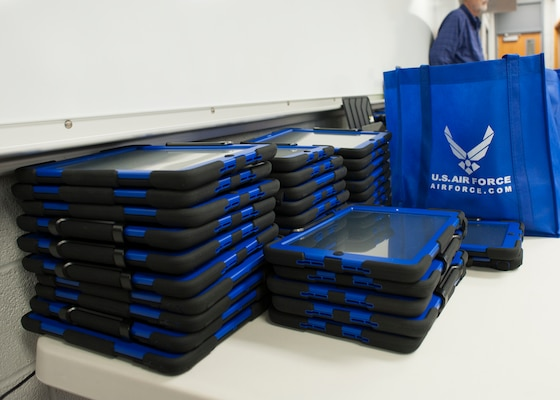 The Randolph Field Independent School District received about 1,000 iPads for students to use this school year as part of a $1.7 million Department of Defense educational grant. (U.S. Air Force photo by Melissa Peterson)