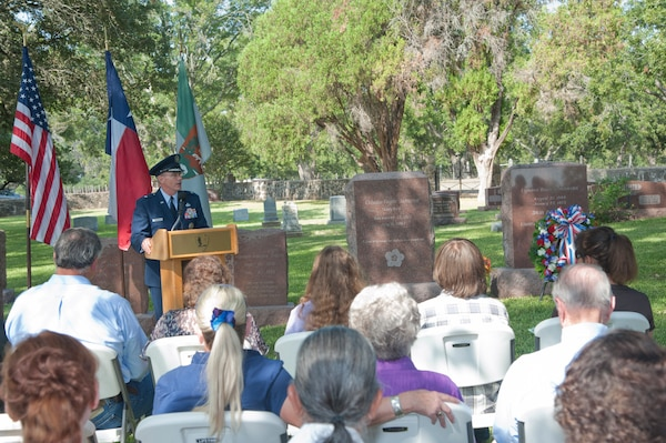 Brig. Gen. Bob LaBrutta, 502nd Air Base Wing and Joint Base San Antonio commander, speaks at the Lyndon B. Johnson birthday observance wreath-laying ceremony Aug. 27 at the LBJ National Historical Park in Johnson City, Texas. (U.S. Air Force photo by Airman 1st Class Stormy Archer)