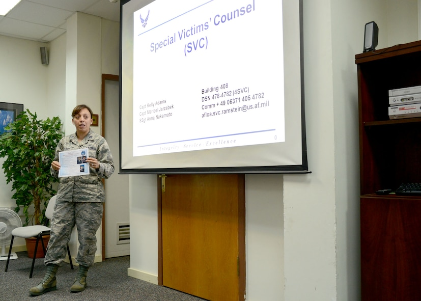 Capt. Maribel Jarzabek, Air Force Legal Operations Agency-Community Legal Services Victims, briefs Victim Advocates on legal right for sexual assault victims Aug. 15, 2014, Incirlik Air Base, Turkey. Jarzabek is a special victims' counsel who represents victims in the U.S. Air Forces in Europe and Air Forces Africa region, as well as deployed locations in Southwest Asia. Special victims' counselors are military lawyers for sexual assault victims. Their primary mission is to provide legal assistance to victims by removing barriers in the military justice process.  (U.S. Air Force photo by Staff Sgt. Veronica Pierce/Released)