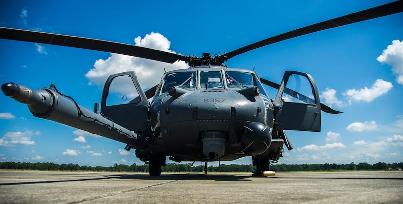 A U.S. Air Force HH-60 Pave Hawk helicopter from the 41st Rescue Squadron, Moody Air Force Base, Ga. waits to be refueled Sept. 3, 2014, on the flightline at Joint Base Charleston, S.C.  Airmen with the 41st RQS were participating in a training mission and stopped at JB Charleston for refueling before flying back to Moody AFB.  (U.S. Air Force photo/Airman 1st Class Clayton Cupit)