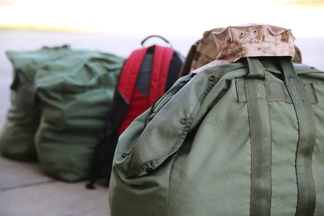 Luggage sits in rows on the flight line as Marines with Marine All-Weather Fighter Attack Squadron 533 aboard Marine Corps Air Station Beaufort, wait to deploy to the Western Pacific, Sept. 2. The purpose of the deployment is to maintain a presence in the pacific as part of the unit deployment program.