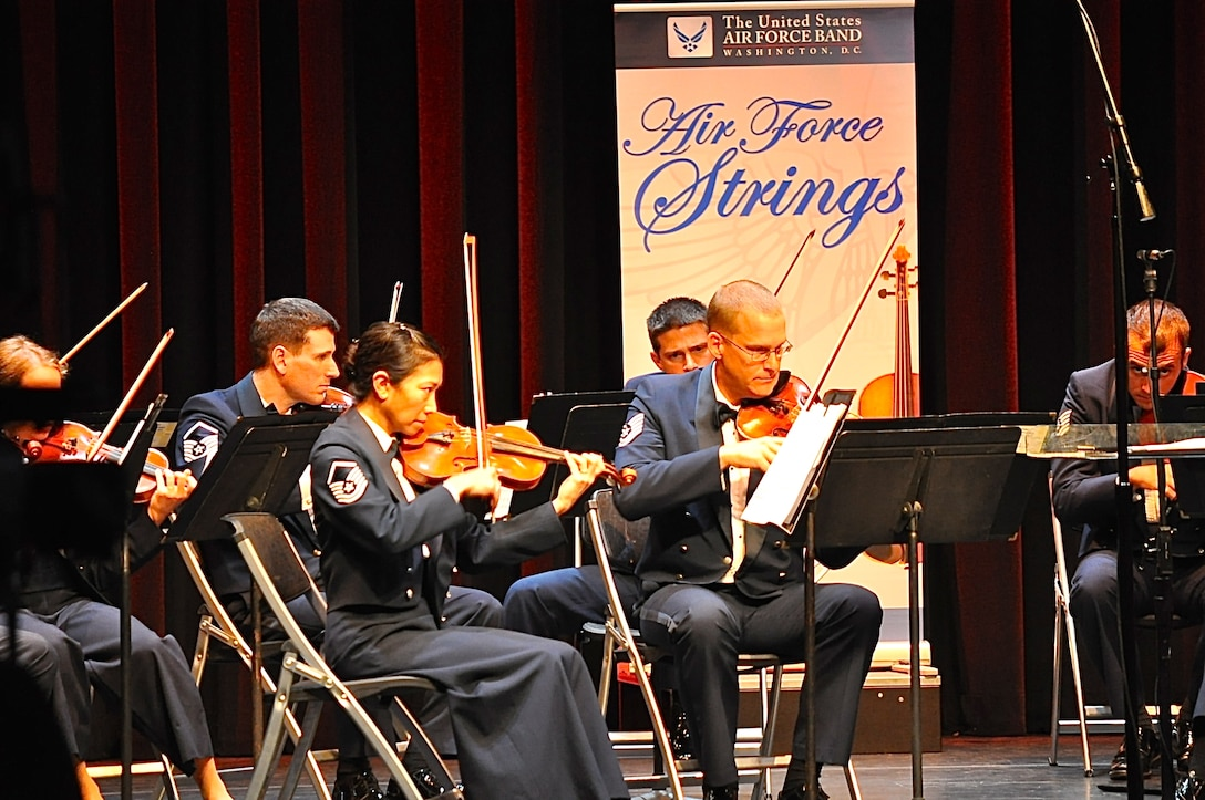 The Air Force Strings perform at the Kennedy Center's Millennium Stage. The ensemble will present two concerts at the National Gallery of Art on Sunday, Sept. 7 at noon and 1 p.m. (U.S. Air Force photo by Chief Master Sgt. Deborah Volker/released)