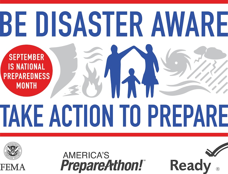 September is National Preparedness month and the Installation Office of Emergency Management is here to help. By following a simple mantra--be informed, make a plan, build a kit, and get involved--everyone can be prepared for most disasters. For more information call Technical. Sgt. Jonathan Maas or Staff Sgt. Nathan Sisk at 731-6632 or visit www.ready.gov. (Courtesy graphic)