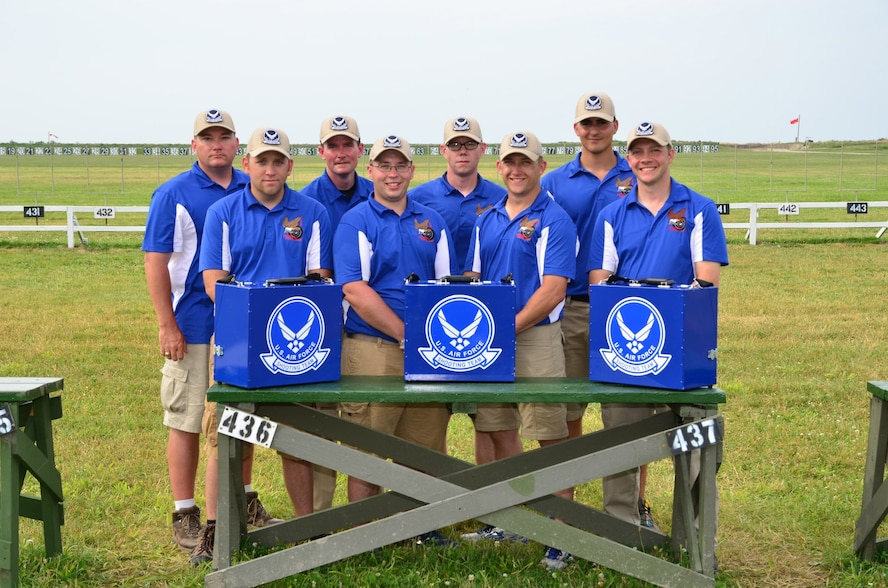The Air Force National Pistol Team stands for a photo at the Camp Perry, Ohio, National Match.  U.S. Air Force Staff Sgt. Richard Mallette, 55th Maintenance Squadron aerospace ground equipment craftsman (bottom middle left,) is the only member of the team from Offutt Air Force Base, Nebraska. (Courtesy photo)
