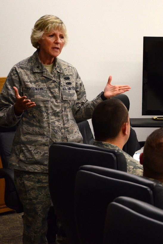 Brig. Gen. Carolyn Protzmann, New Hampshire Air National Guard commander, welcomes technical sergeants prior to beginning the Satellite NCO Academy course at Pease Air National Guard Base Aug. 26. Students enrolled in the course will spend Tuesday and Thursday nights through late November at Pease followed by a two week in-residence assignment at McGhee Tyson ANG Base, Tennessee. Technical sergeants have the option of attending the course in residence, correspondence and by satellite. (N.H. Air National Guard photo by Tech. Sgt. Mark Wyatt)