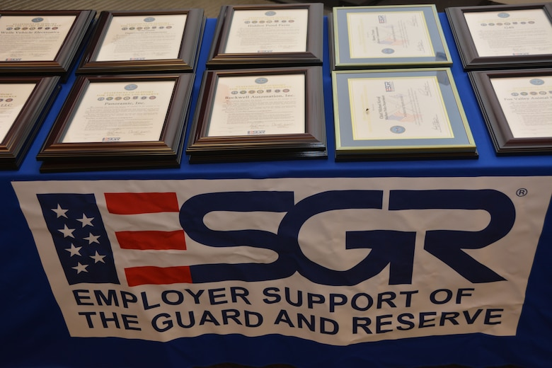 Approximately 70 employers and employees from the Madison area attended an Employer Support of the Guard and Reserve event Sept. 5 at the 115th Fighter Wing, Madison, Wis., recognizing employers who went above and beyond in their support of the Guard and Reserve members.(Air National Guard photo by Staff Sgt. Ryan Roth, released)