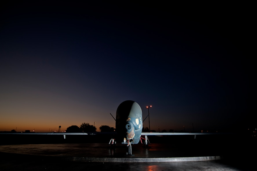 GOODFELLOW AIR FORCE BASE, Texas – A decommissioned RQ-4 Global Hawk sits on display at the corner of Kearney Boulevard and West Canberra Street Sept. 2. During its time in the Air Force, this Global Hawk logged 4,830 hours in 285 missions, including a deployment to the 380th Air Expeditionary Wing, Southwest Asia, in support of Operation Enduring Freedom. (U.S. Air Force photo/ Airman 1st Class Devin Boyer)