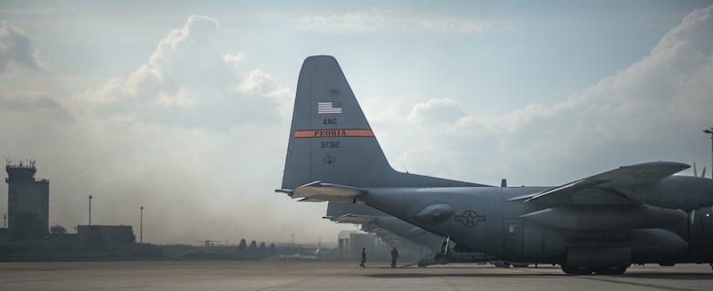 C-130 aircraft from Ramstein and the Air National Guard wait on the flightline at Ramstein Air Base, Germany, Sept. 5, 2014, to support the Steadfast Javelin II exercise. The U.S. Air Force and Air National Guard support Steadfast Javelin II by providing personnel air drop and air landings in support of forcible entry and force projection,  reinforcing the joint commitment to Operation Atlantic Resolve, and a  demonstrated commitment to our NATO allies and security in Eastern Europe. (U.S. Air Force photo/Airman 1st Class Jordan Castelan)