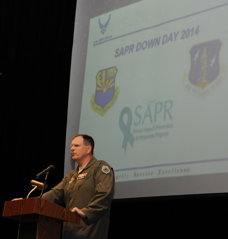 """Maj. Gen. Michael T. McGuire., the Arizona Adjutant General, briefs members from the Arizona Air National Guard gather at South Mountain High School, Phoenix, for the annual for SAPR Down Day during September's drill, Sept. 6, 2014. The Sexual Assault Prevention and Response [SAPR] program involved a full day of training to include briefs from the Adjutant General, the 161st Air Refueling Wing Commander, the Phoenix Police Department, and a trauma healing manager, as well as small group breakout sessions in the afternoon. """"The strength of our military is not what kind of aircraft we fly, how capable our electronic warfare system is, or whether we have advanced weapons; it has everything to do with the strength of the team… You will not serve in the Arizona National Guard if you cannot treat one another with the proper dignity and respect."""" (Air National Guard Photo by Tech. Sgt. Courtney Enos/Released)"""