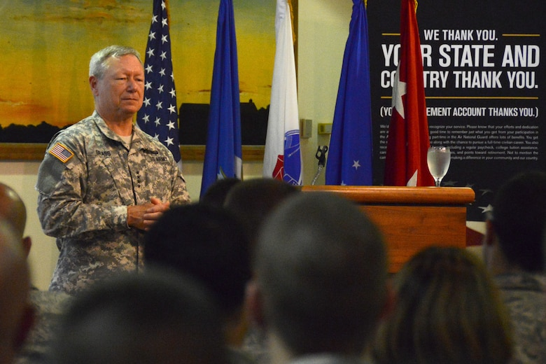 Chief of the National Guard Bureau General Frank J. Grass conducts a town hall meeting, emphasizing the importance of being in the Guard for Airmen at Bradley Air National Guard Base, East Granby, Conn, Sept. 9, 2014. This was the first time a Chief of the National Guard Bureau visited the Flying Yankees. (U.S. Air National Guard photo by Master Sgt Erin McNamara)