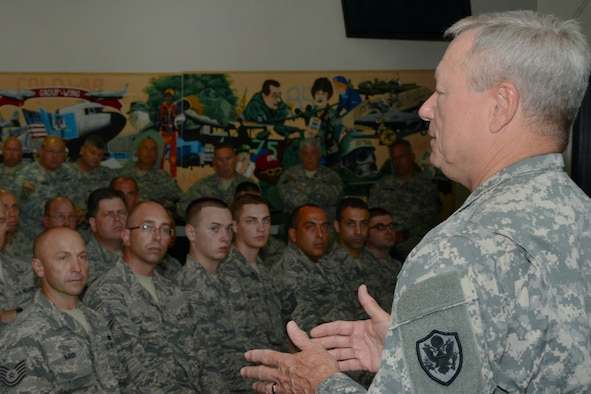 Chief of the National Guard Bureau General Frank J. Grass conducts a town hall meeting, emphasizing the importance of being in the Guard for Airmen at Bradley Air National Guard Base, East Granby, Conn, Sept. 9, 2014. This was the first time a Chief of the National Guard Bureau visited the Flying Yankees. (U.S. Air National Guard photo by Senior Airman Emmanuel Santiago)