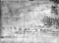 Historic American Buildings Survey. Portion of an anonymous watercolor painting of Fort McHenry bombardment of 1814. Peale Museum, Baltimore. View of southeast bastion and sally port. Fort McHenry National Monument and Historic Shrine.