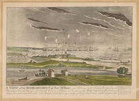 A view of the bombardment of Fort McHenry, near Baltimore, by the British fleet, taken from the observatory under the command of Admirals Cochrane & Cockburn on the morning of the 13th of Sepr. 1814 which lasted 24 hours, & thrown from 1500 to 1800 shells in the night attempted to land by forcing passage up the ferry branch but were repulsed with great loss. Approximately 1819, re-engraved approximately 1905.