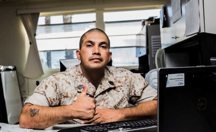 Gunnery Sgt. Jose D. Alvizo has tailored his leadership style to one basic principle; set an example that others will want to follow. Alvizo, logistics chief, 15th Marine Expeditionary Unit, 35, is from Fort Worth, Texas. (U.S. Marine Corps photo by Sgt. Emmanuel Ramos/Released)