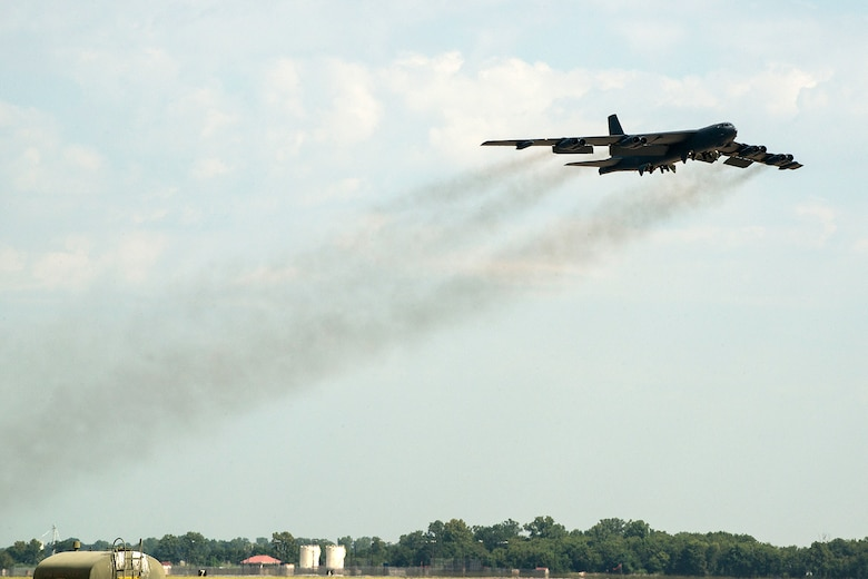 A 307th Bomb Wing B-52H Stratofortress takes off for a mission on Aug. 28, 2014, Barksdale Air Force Base, La. On board the aircraft is Col. William Lyons, Assistant Vice Commander and the Director of Staff for 10th Air Force, who visited the 307th BW and flew his first flight in a B-52. (U.S. Air Force photo by Master Sgt. Greg Steele/Released)