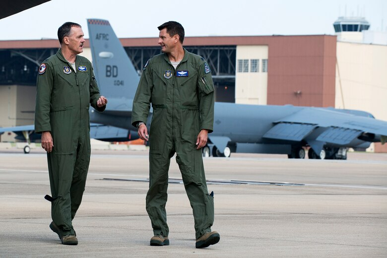 U.S. Air Force Col. William Lyons (left) talks with Lt. Col. John Booker prior to a flight on a 307th Bomb Wing B-52H Stratofortress, Aug. 28, 2014, Barksdale Air Force Base, La. Lyons is the Assistant Vice Commander and the Director of Staff, 10th Air Force, Naval Air Station Fort Worth Joint Reserve Base, Texas. (U.S. Air Force photo by Master Sgt. Greg Steele/Released)