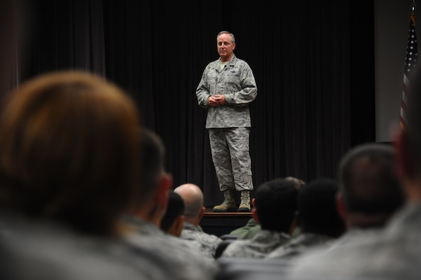 Gen. Mark A. Welsh III, Chief of Staff of the Air Force, addresses Columbus Air Force Base Airmen at a wing All Call  Sept. 5 during Welsh's visit to the base. The visit was prompted by an invitation from Specialized Undergraduate Pilot Training Class 14-14 to be the keynote speaker at their graduation. Welsh also took the time to address and answer questions from the Airmen of Columbus AFB. (U.S. Air Force Photo/Airman 1st Class Daniel Lile)