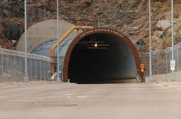 An entrance to Cheyenne Mountain Air Force Station, Colo. Built during the Cold War and housed 2,000 feet within a granite mountain, the installation is a survivable, reliable and secure complex. It provides missile and air warning, space situational awareness, command and control, and cyber capabilities to defend North America.(Courtesy photo)