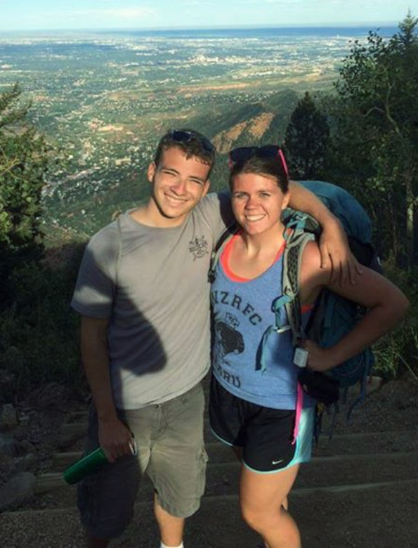 Cadets 3rd Class Patrick Casa and Brianna Ramey pose for a photo on the Manitou Incline Aug. 16, 2014. Shortly after taking this photo, the cadets responded to a medical emergency involving a teenager who injured his ankle and leg on the path. (courtesy photo/Cadet 3rd Class Patrick Casa)