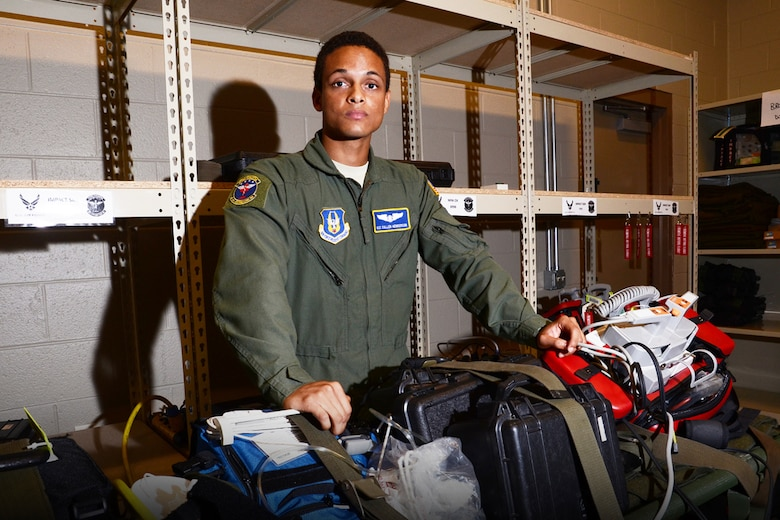 Airman 1st Class Cullen Henderson is a 94th Aeromedical Evacuation Squadron aerospace medical technician. As a flyer, he transports and sustains the lives of patients in need of medical attention.