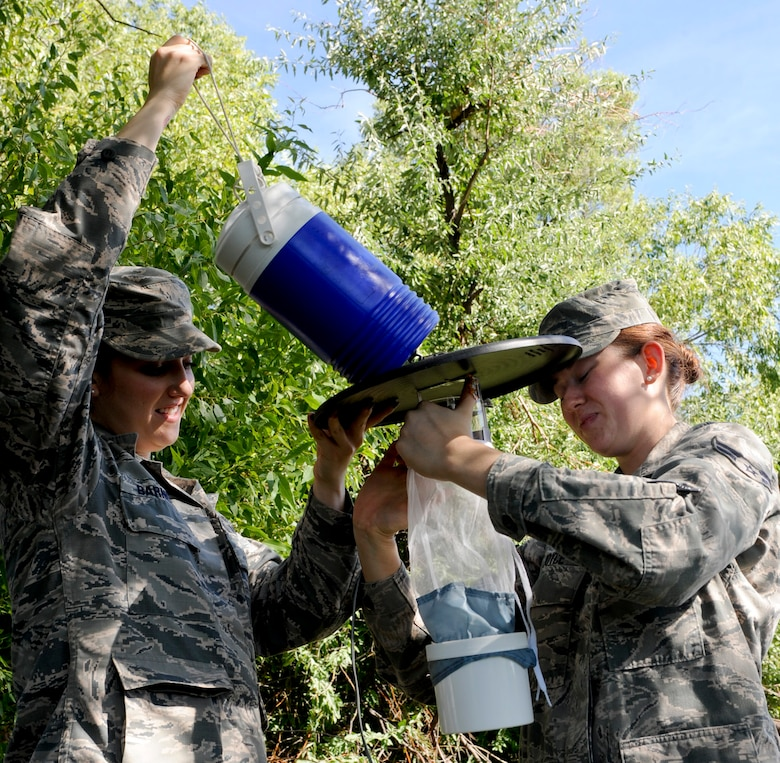 Airman 1st Class Samantha Barnett and Amanda Joyce, 28th Medical Operations Squadron public health technicians, place a mosquito trap in a tree near Heritage Lake at Ellsworth Air Force Base, S.D., Sept. 2, 2014. The trap emits carbon dioxide and light to attract mosquitoes into the net to be analyzed and tested for diseases and viruses. (U.S. Air Force photo by Senior Airman Anania Tekurio/Released)