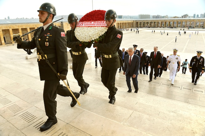 u s department of > photos > photo essays > essay view turkish iers a wreath bearing the of u s secretary chuck hagel as hagel