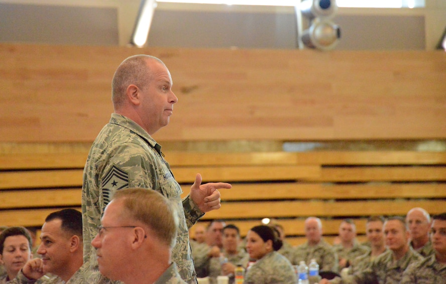 Chief Master Sgt. James W. Hotaling, the command chief master sergeant of the Air National Guard, addresses Airmen at the Enlisted Leadership Symposium, held at Camp Dawson, W.V., Aug. 26-28, 2014. Airmen from each of the 50 states, territories and the District of Columbia are in attendance for three days of professional development and leadership training. (U.S. Air National Guard photo by Senior Airman John E. Hillier)