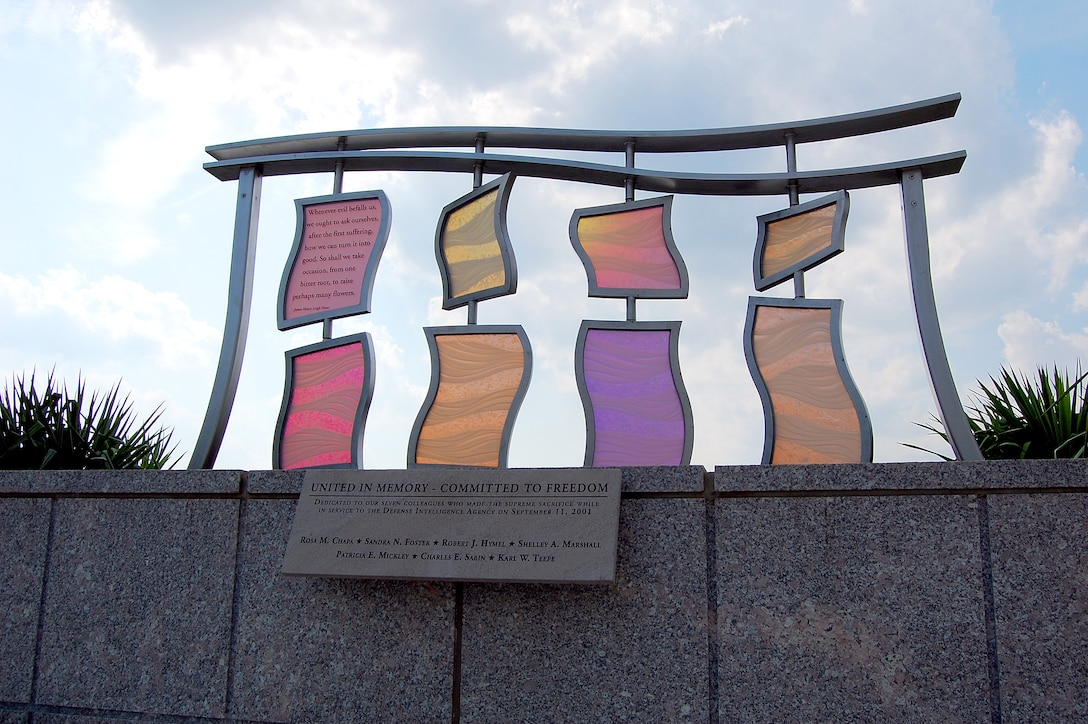 DIA's 9/11 Memorial, located at DIA Headquarters in Washington, D.C., honors the agency's seven employees lost in the attacks on the Pentagon.