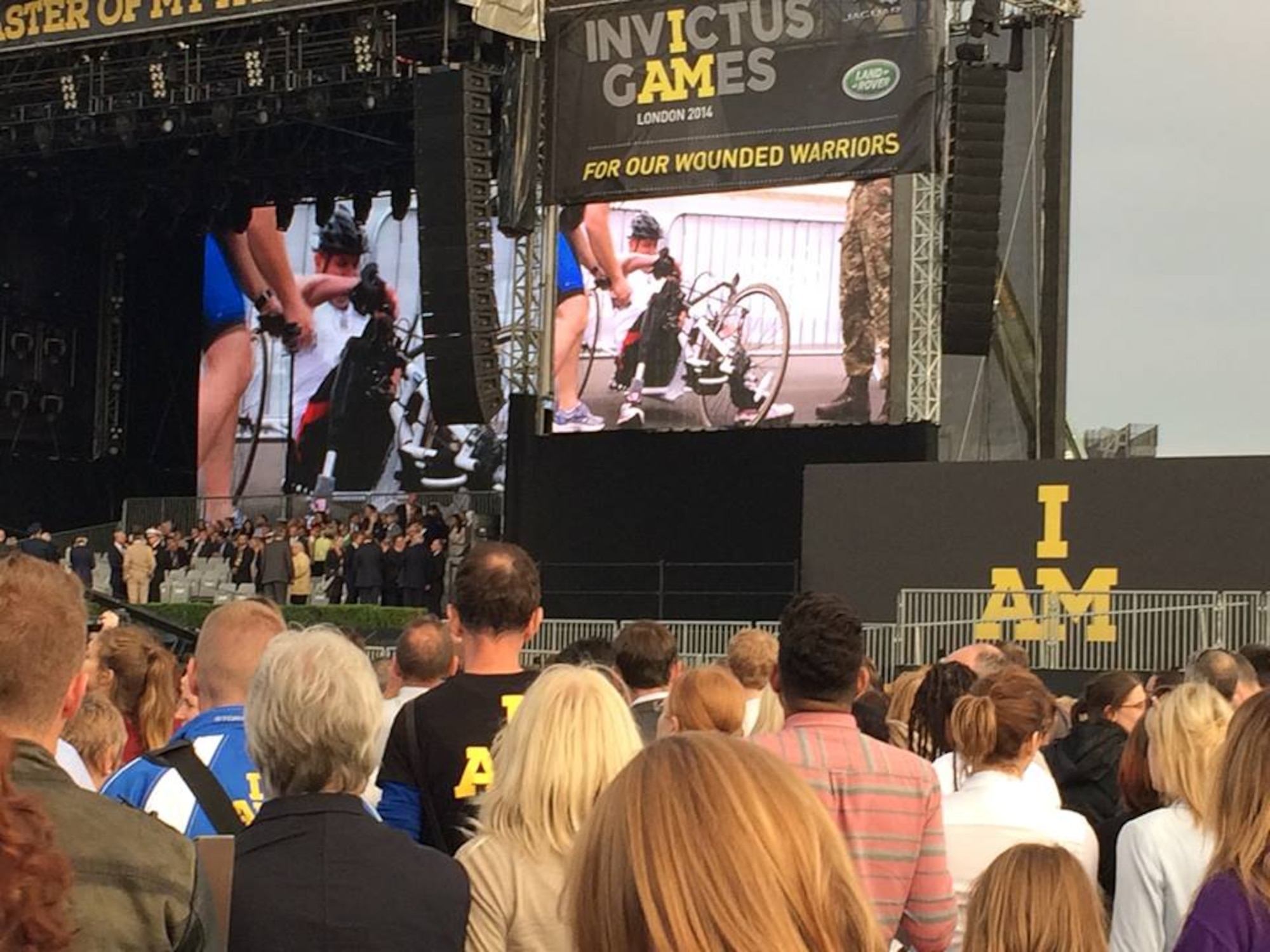 A video tribute to wounded warriors kicks off the opening ceremony of the inaugural Invictus Games Sept. 10, 2014, in London. The Invictus Games are a Paralympic-style contest that features wounded warriors from different nations competing in various events. (Courtesy photo)