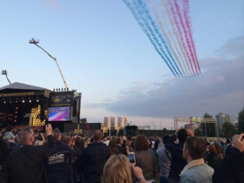 A flyover by the Royal Air Force's aerial aerobatic team, The Red Arrows, helped kick off the opening ceremony for the inaugural Invictus Games Sept 10, 2014, in London. The Invictus Games are a Paralympic-style contest that features wounded warriors from different nations competing in various events. (Courtesy photo)