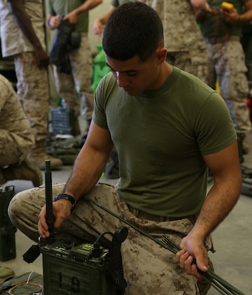 Cpl. Richard Arroyo, field radio operator with the communications section of the Ground Combat Element Integrated Task Force, conducts a limited technical inspection of radio equipment at the 8th Marine Regiment communications building, Sept. 9, 2014. The GCEITF received the equipment from 2nd Marine Division. From October 2014 to July 2015, the GCEITF will conduct individual and collective level skills training in designated ground combat arms occupational specialties in order to facilitate the standards-based assessment of the physical performance of Marines in a simulated operating environment performing specific ground combat arms tasks. (Official Marine Corps photo by Cpl. Paul S. Martinez/Released)