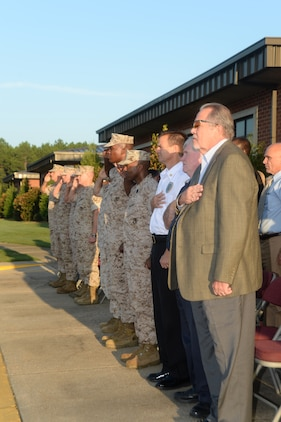 """Marine Corps Logistics Base Albany and its tenant commands' officials as well as Marines, policemen, firemen, civil servants, veterans and families observed the 13th anniversary of 9/11 in front of the installation's Coffman Hall. The commemoration included an invocation, Taps, a moment of silence, a speech by MCLB Albany's commanding officer, Col. Don Davis, and a closing prayer. Davis emphasized to those at the observance to """"remember the fallen of that day, remember who has fallen since, and remember that what you do here on a day-to-day basis contributes to whether or not their deaths were in vain."""""""