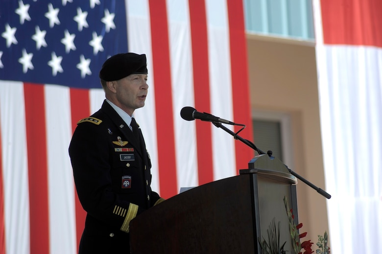Army Gen. Charles Jacoby, North American Aerospace Defense Command and U.S. Northern Command commander, addresses the crowd of nearly 700 servicemembers and community leaders from across Colorado Springs at the 9/11 Commemoration held at Cheyenne Mountain Air Force Station today.  Photo by Air Force Master Sgt. Andy Bellamy