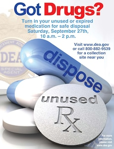 Joint Base San Antonio will have collection points at all three locations on Sept. 27 for National Prescription Drug Take Back Day.