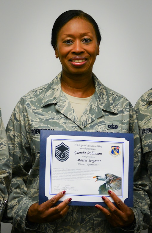 Tech. Sgt. Glenda Robinson, 919th Special Operations Wing staff, was selected for promotion to master sergeant via the Promotion Enhancement Program.  She will sew on her new stripe Oct. 1.  The 919th Special Operations Wing had seven PEP promotees this year.  (U.S. Air Force photo/Tech. Sgt. Cheryl Foster)