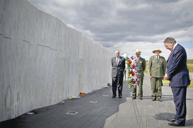 On the eve of the 11th anniversary of the Sept. 11, 2001, terrorist attacks, then- Defense Secretary Leon E. Panetta lays a wreath at the Flight 93 Memorial Plaza Wall of Names in Shanksville, Pennsylvania, Sept. 10, 2012.