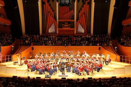 "The United States Marine Band, also known as ""The President's Own"", performs in Helzberg Hall at the Kauffman Center for the Performing Arts  in Kansas City, Mo., Sept. 10, 2014, as part of its national tour. The tour commenced Sept. 1 and is slated to conclude Sept. 30.  The band is slated to perform at the University of Kansas Lied Center on Sept. 12, the Cloud County Community College Arly Bryant Gymnasium on Sept. 13, and will conclude their portion of the Kansas leg of its tour at the Colby Community Building in Colby, Kan., on Sept. 14."
