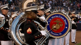 "The Quantico Marine Band performs the ""National Anthem"" at Yankee Stadium Sept. 11, 2014, at New York City. The band traveled to the city to perform and pay their respects to the people who lost their lives 13 years ago during the 9/11 attacks on the World Trade Center."