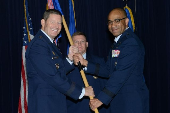 Brig. Gen. James C. Johnson (right) assumed command of the Air Force Recruiting Service in a ceremony at Joint Base San Antonio-Randolph-Texas, Sept. 11. General Robin Rand, commander of Air Education and Training Command (left), presided over the ceremony. (U.S. Air Force photo)