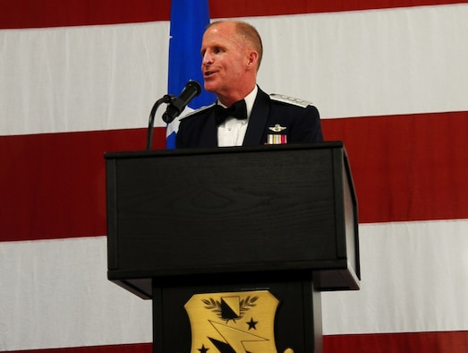 Lt. Gen. Stephen Wilson, Air Force Global Strike Command Commander, speaks during the Air Force Ball Sept. 5 at the Mallory Hangar on Columbus Air Force Base. The ball took place during Heritage Week, which also celebrated the 14th Flying Training Wing's Specialized Undergraduate Pilot Training Class 14-14 graduation and included a wing commander's reunion. (U.S. Air Force photo/Airman Daniel Lile)