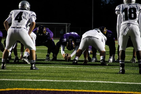 Jaycee D. Pummill, the Blue Springs High School senior long snapper and a 2015 Semper Fidelis All-American Bowl selectee, prepares to snap the ball during the Wildcats 49-7 routing of the St. Joseph High School Indians at Peve Stadium Sept. 12, 2014. Pummill was the only player selected from Missouri to participate in the bowl next year at the StubHub Center in Carson, Calif., on Jan. 4, 2015, and it will be aired live on Fox Sports 1 at 6 p.m. Pacific Standard Time. Pummill is one of approximately 100 players selected from across the nation to participate in the Semper Fi Bowl.