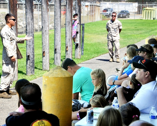 Sgt. Chadmichael Herman, an Assault Amphibious Vehicle crew chief, presented a briefing on Marine Corps leadership traits and core values to the daughters and dads attending the YMCA Adventure Princess Program Sept. 6 at Camp Pendleton, California. During the event, AVTB provided demonstrations, displays and tours for 37 fathers and 48 daughters from the local community.