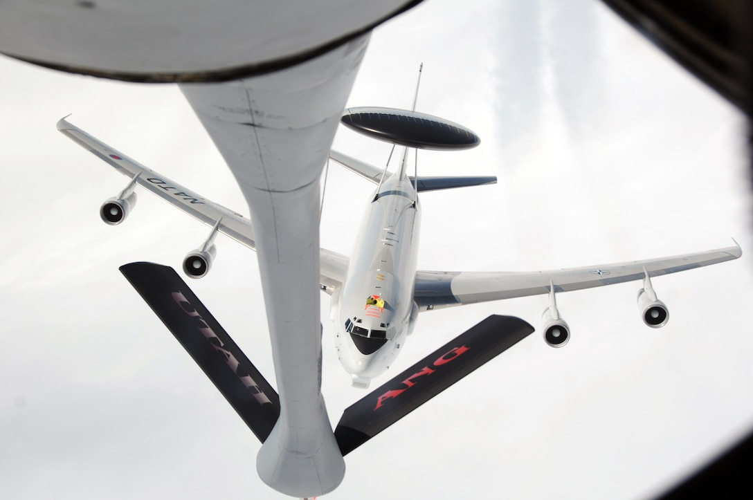A NATO E-3A Sentry (AWACS) approaches a Utah Air National Guard KC-135R Stratotanker for air refueling during a training exercise May 2014, over Germany. (Utah Air National Guard photo/Staff Sgt. Annie Edwards)