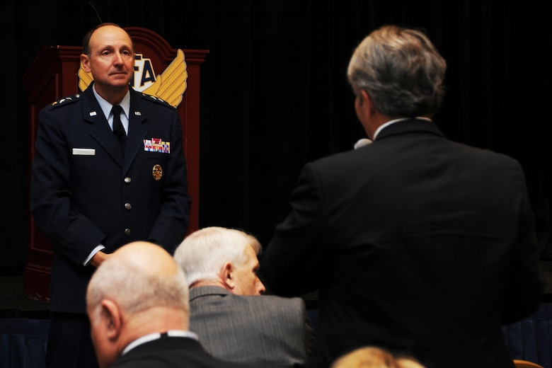 Lt. Gen. Bruce Litchfield takes a question from an audience member during the Air Force Association's 2014 Air and Space Conference Sept. 15, 2014 in Washington, D.C. As the Air Force Sustainment Center commander, he ensures the Center provides operational planning and execution of Air Force Supply Chain Management and Depot Maintenance for a wide range of aircraft, engines, missiles, and component items in support of Air Force Materiel Command missions. (U.S. Air Force photo/Staff Sgt. Matt Davis)