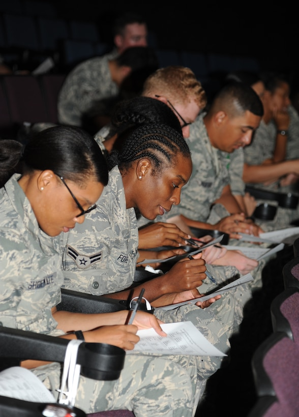Airman 1st Class Portia Fore, 335th Training Squadron, center, completes a personality test which show leadership style during an Airmen Building Airmen program Sept. 12, 2014, at the Welch Theater, Keesler Air Force Base, Miss.  The goal of the symposium was to create a platform where outstanding Airmen can impart their wisdom to the next generation of Airmen.  The event included guest speakers and a social mixer. (U.S. Air Force photo by Kemberly Groue)