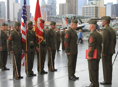 Sgt. Maj. Rufino Mendez Jr. was retired after 30 years of service during a retirement and relief and appointment ceremony aboard the USS Intrepid Sea, Air and Space Museum in Manhattan Aug. 22.