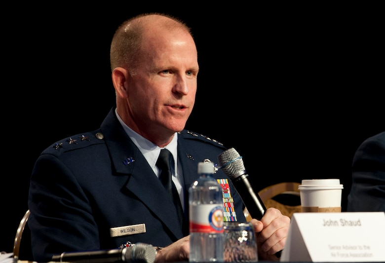 Lt. Gen. Stephen Wilson, Air Force Global Strike Command commander, speaks at the The Nuclear Enterprise panel during the Air Force Association Air and Space Conference and Technology Exposition, Washington, D.C., Sept. 16. Wilson spoke on the way ahead for Global Strike Command and the integration of the Force Improvement Program command-wide, meeting the needs of Airmen in different areas, from quality of life to administrative actions. (U.S. Air Force Photo by Staff Sgt. Carlin Leslie)
