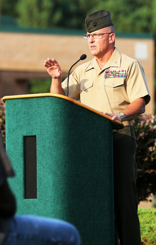 Maj. Gen. Robert F. Hedelund speaks during a 9/11 memorial ceremony at the Craven County Community College Marine Corps Air Station Cherry Point – Havelock campus, honoring those who lost their lives during the attacks of Sept. 11, 2001. Hedelund is the commanding general of the 2nd Marine Aircraft Wing.