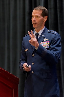 Lt. Gen. Stanley E. Clarke III addresses an audience during the Air National Guard update at the 2014 Air Force Association's Air and Space Conference and Technology Exposition September 15, 2014 in Washington D.C. Clarke highlighted the ANG's involvement in domestic operations and recognized several ANG Airmen and units for exemplary service during recent combat operations. Clarke is the director of the Air National Guard.  (Air National Guard photo/Master Sgt. Marvin R. Preston)